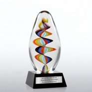 Art Glass Trophy - Rainbow Swirl